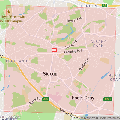Map showing extent of Sidcup as bounding box