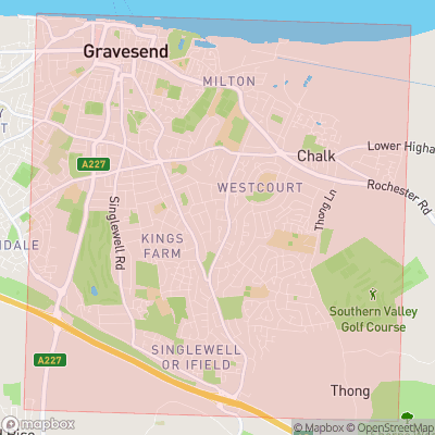 Map showing extent of Gravesend as bounding box