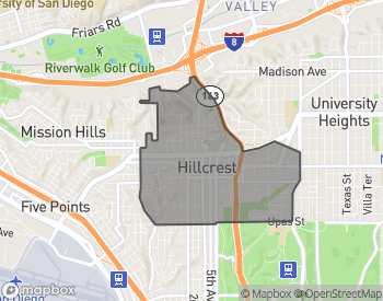 Map of Hillcrest and North Park Homes For Sale