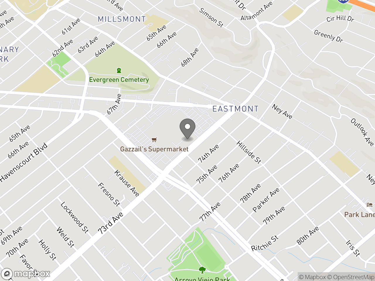 Map location for CPAB Meeting - September 4, 2019, located at Eastmont Police Station in Oakland, CA 94605