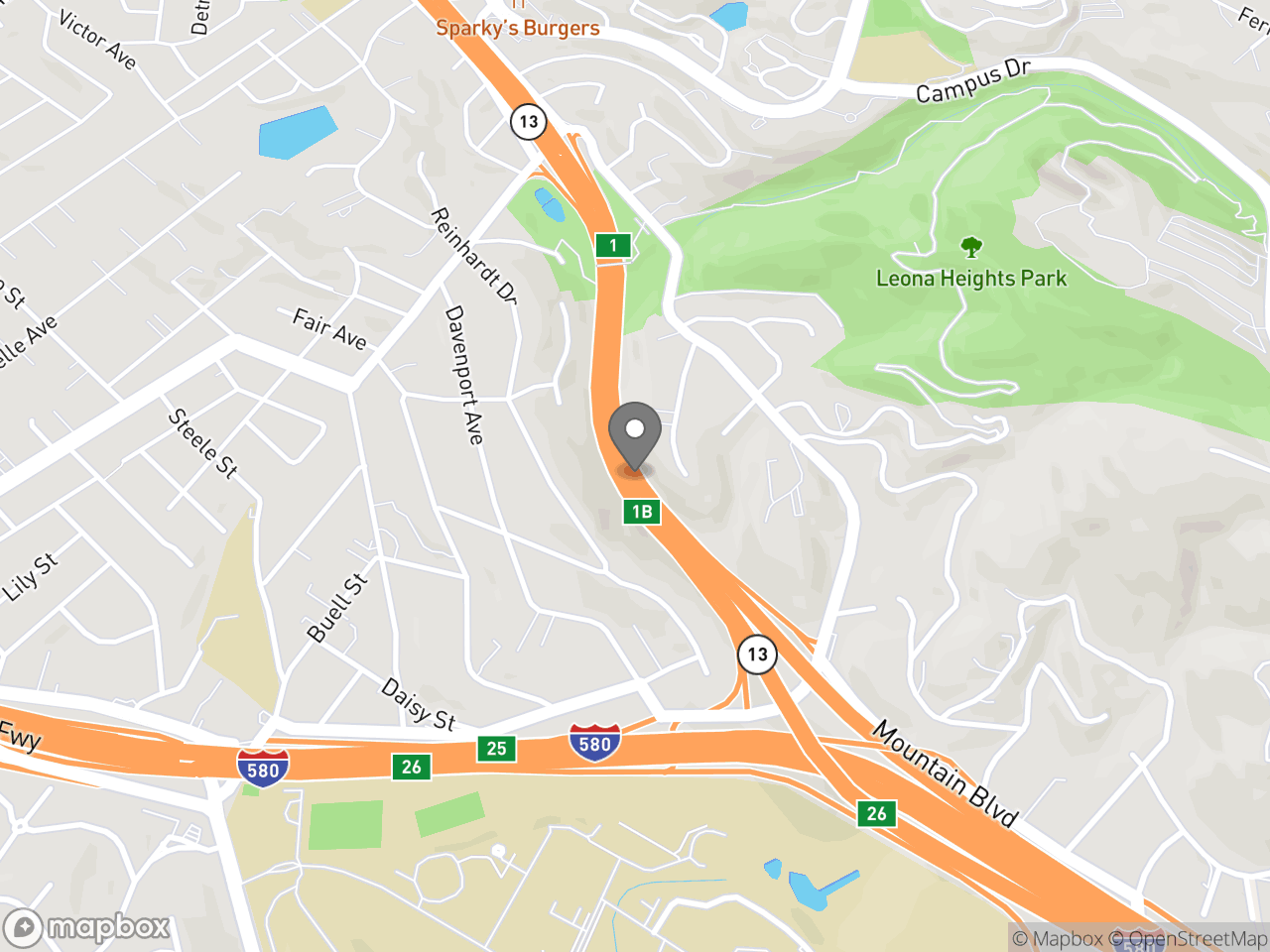 Map location for Mandated Sewer Main Rehabilitation to Require Temporary Highway 13 Lane Closures, located at CA-13 in Oakland, CA