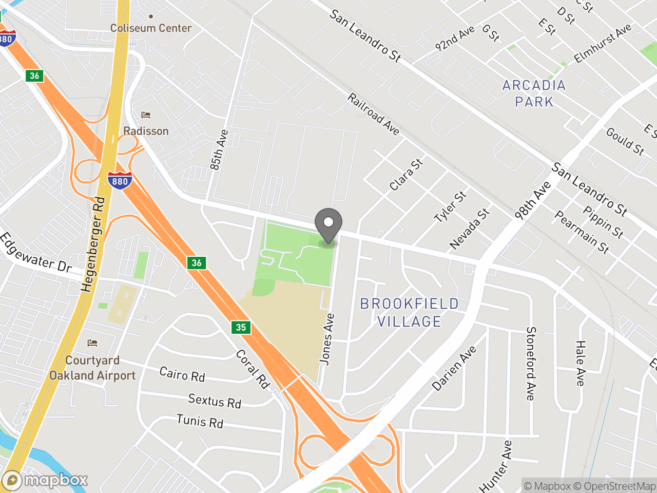 Map image for East Oakland Senior Center, located at 9255 Edes Ave in Oakland, CA 94603