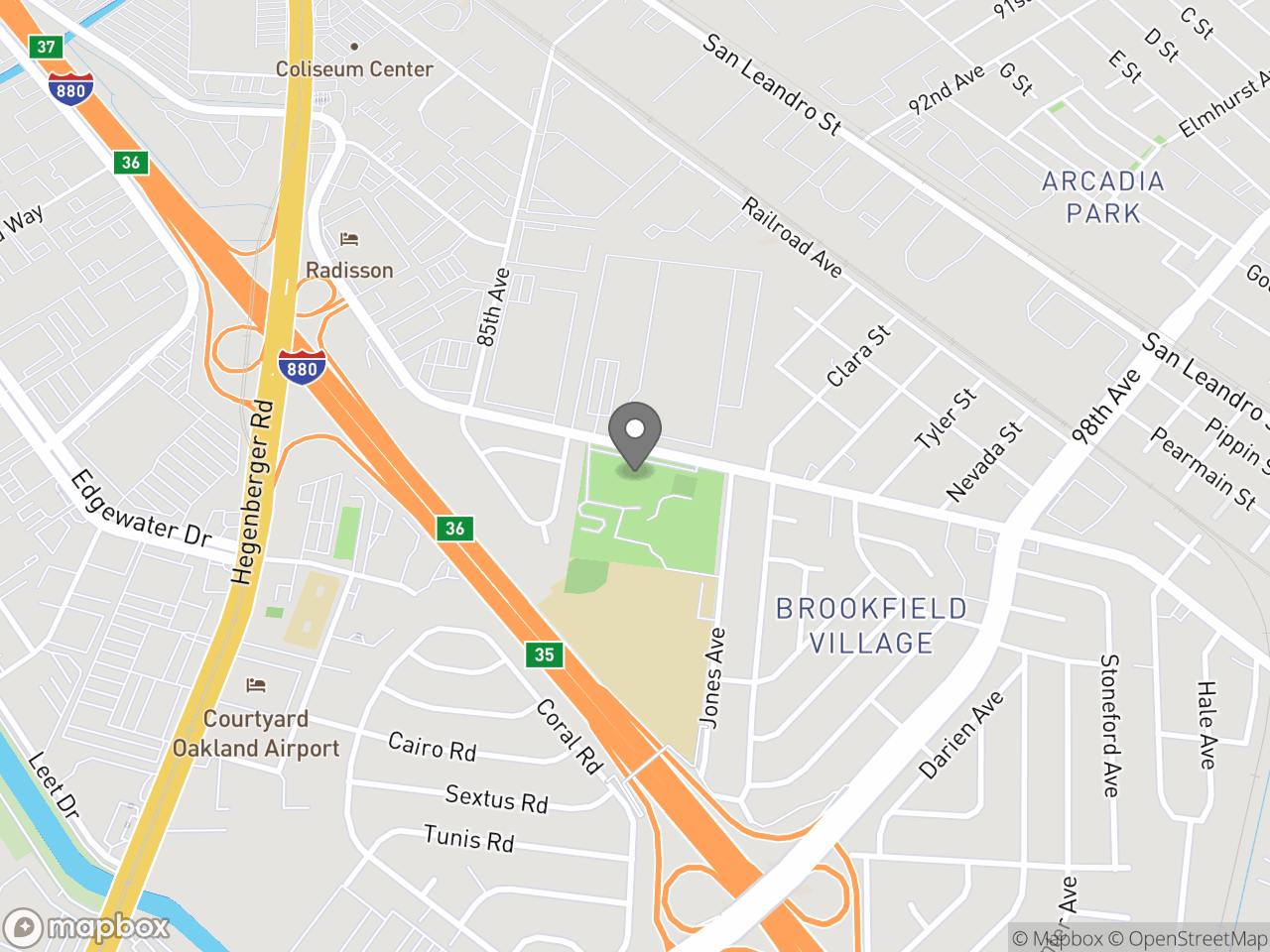 Map location for East Oakland Sports Center, located at 9161 Edes Ave in Oakland, CA 94603