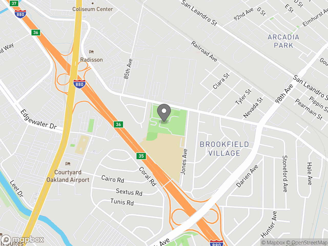 Map location for Ira Jinkins Recreation Center, located at 9175 Edes Ave in Oakland, CA 94603
