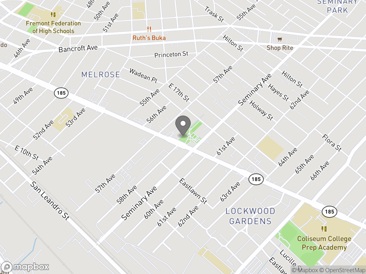 Map location for Rainbow Recreation Center, located at 5800 International Blvd in Oakland, CA 94621