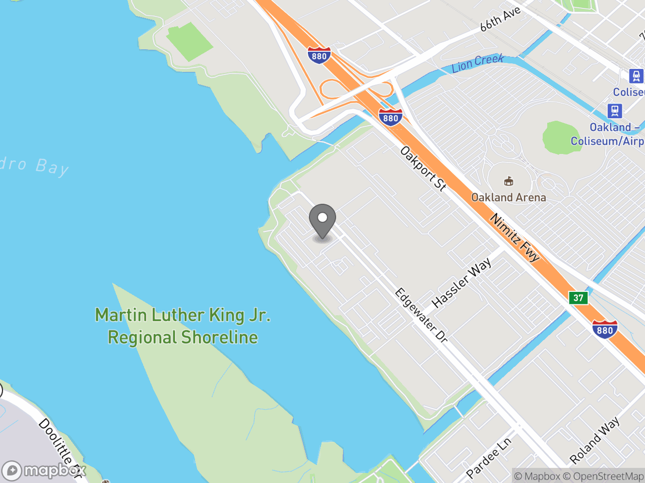 Map location for Oaktown PROUD: Prevent & Report Our Unlawful Dumping, located at 7101 Edgewater Dr in Oakland, CA 94621