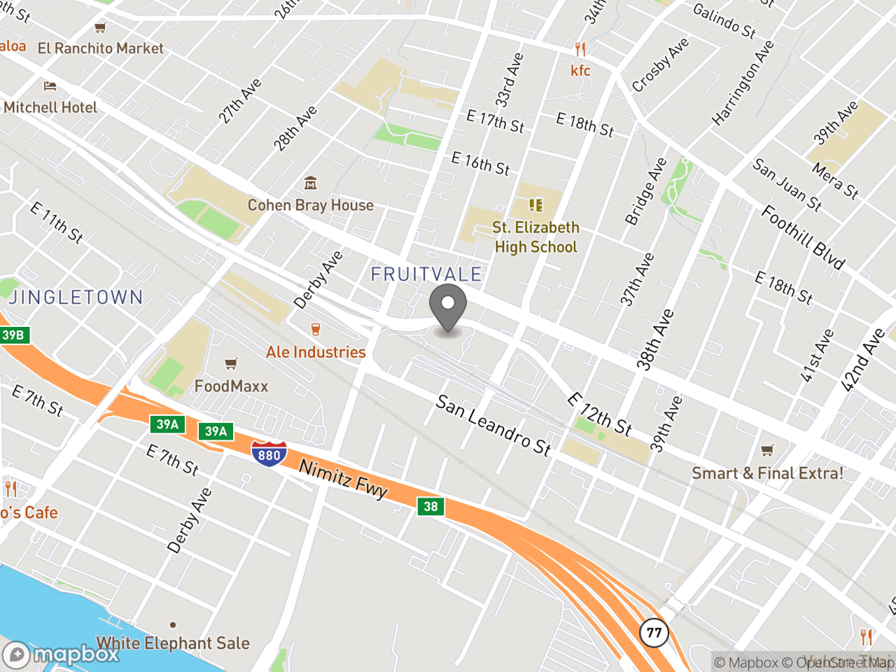 Map location for City of Oakland Community Budget Forum with Councilmember Noel Gallo, located at 3301 E 12th St in Oakland, CA 94601