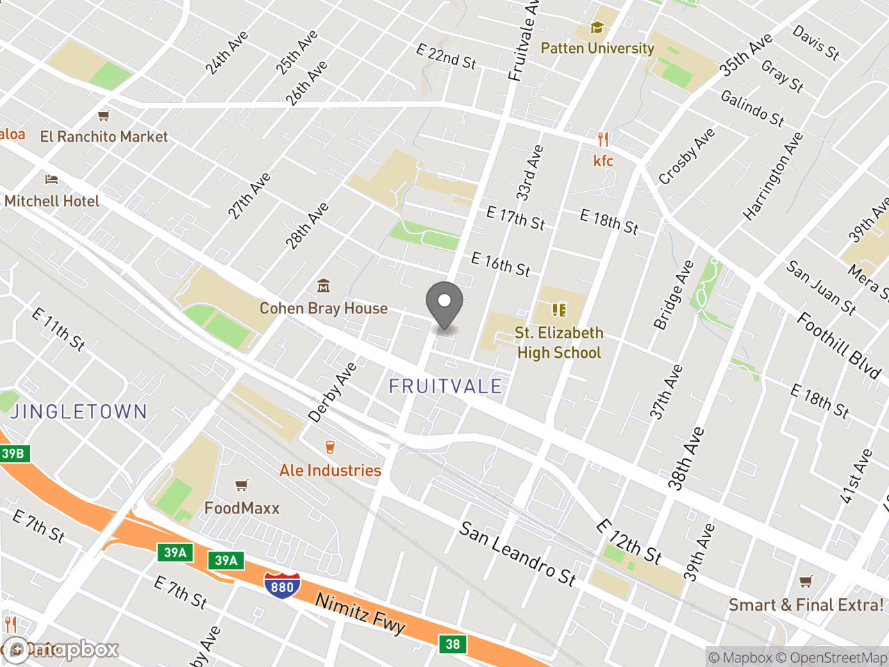 Map location for Taller de Derechos Del Inquilino (Tenants Rights Workshop in Spanish), located at 1470 Fruitvale Ave in Oakland, CA 94601