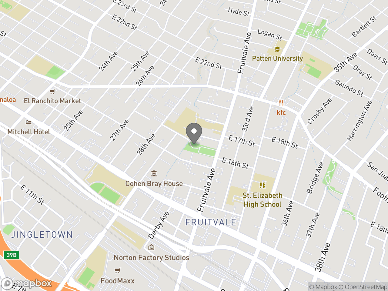 Map image for Carmen Flores Recreation Center, located at 1637 Fruitvale Ave in Oakland, CA 94601