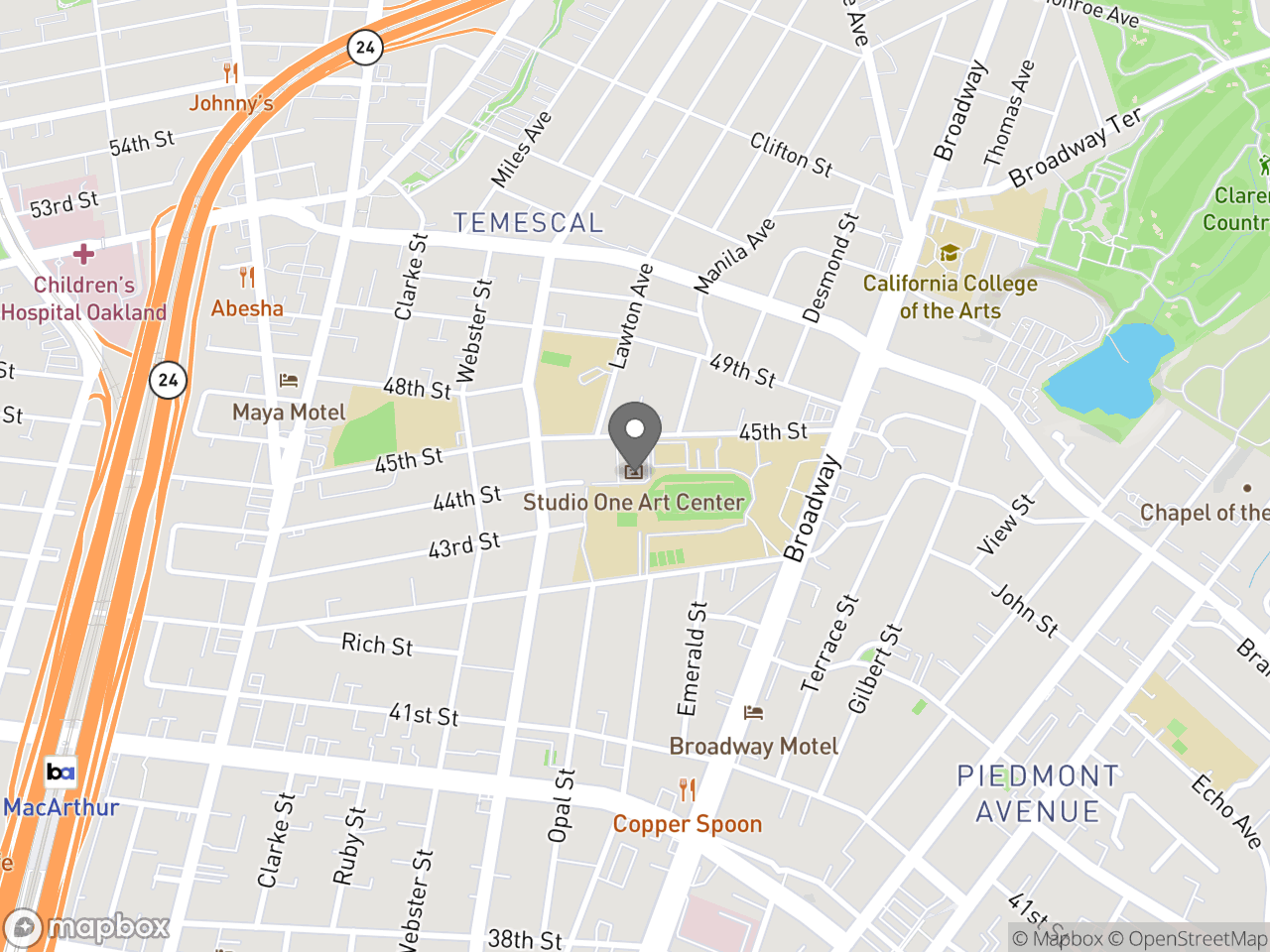 Map location for Studio One Art Center, located at 365 45th St in Oakland, CA 94609