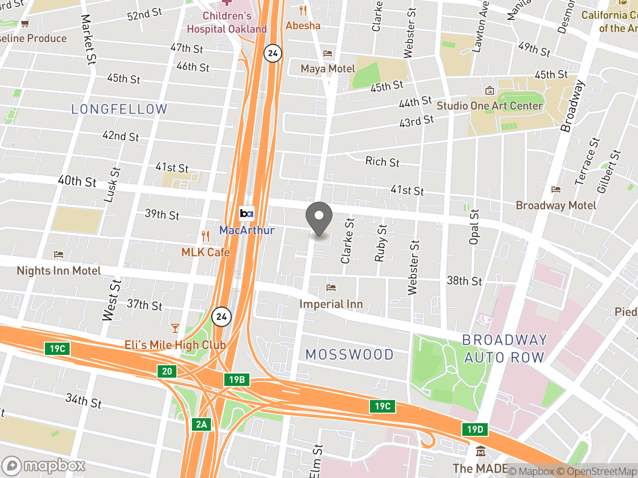 Map location for Public Budget Forum with Councilmember Dan Kalb, located at 3900 Telegraph Ave in Oakland, CA 94609