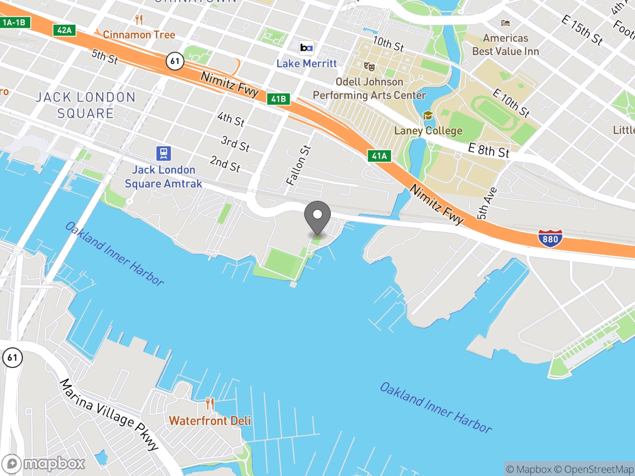 Map location for Boating at Jack London Aquatic Center, located at 115 Embarcadero in Oakland, CA 94606