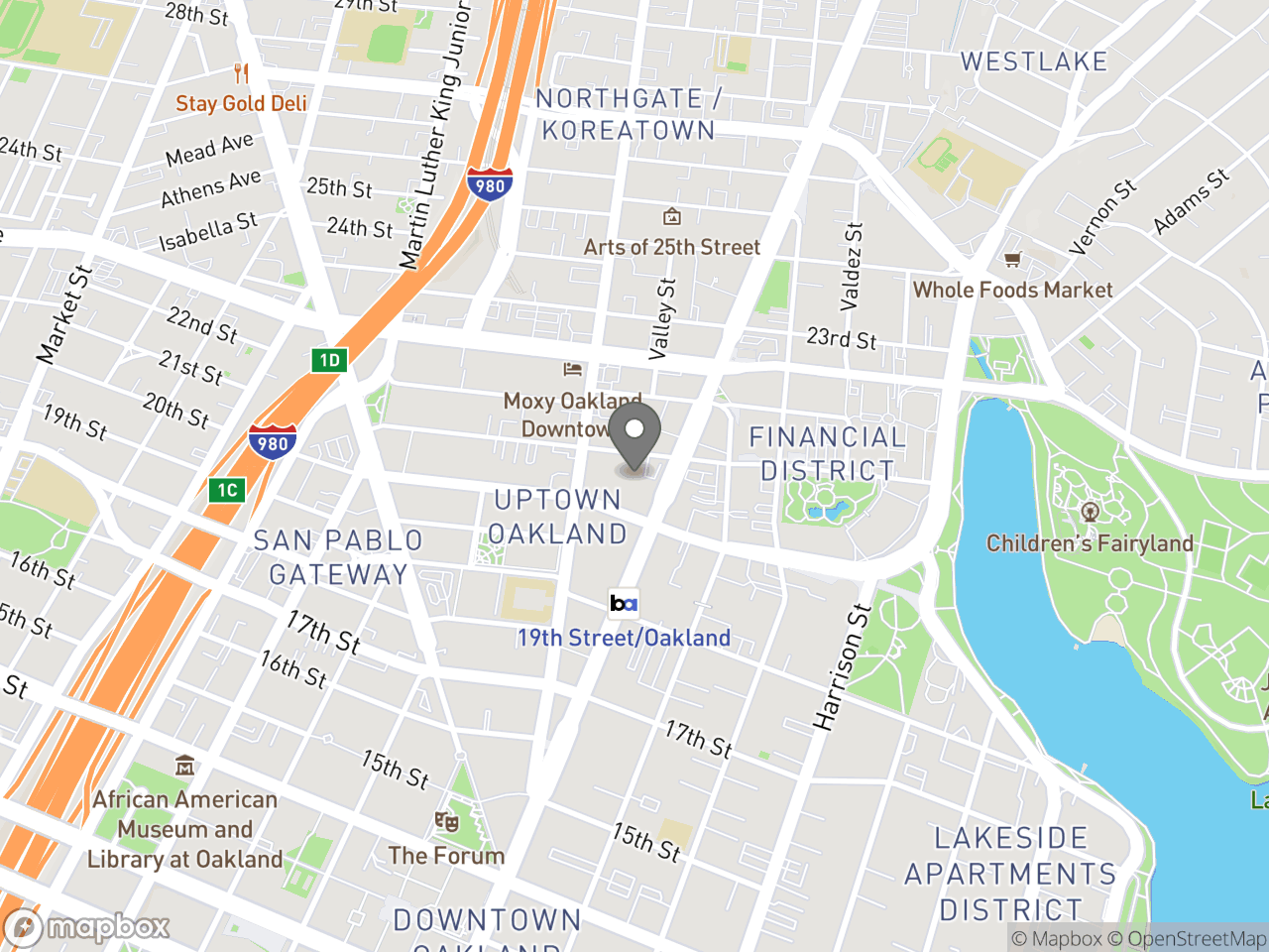 Map location for Paramount Theater Board's Monthly Meeting, located at 2025 Broadway in Oakland, CA 94612