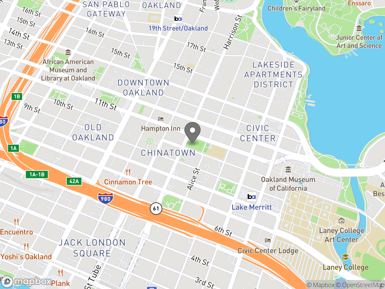 Map location for Lincoln Square Park and Recreation Center, located at 250 10th St in Oakland, CA 94607
