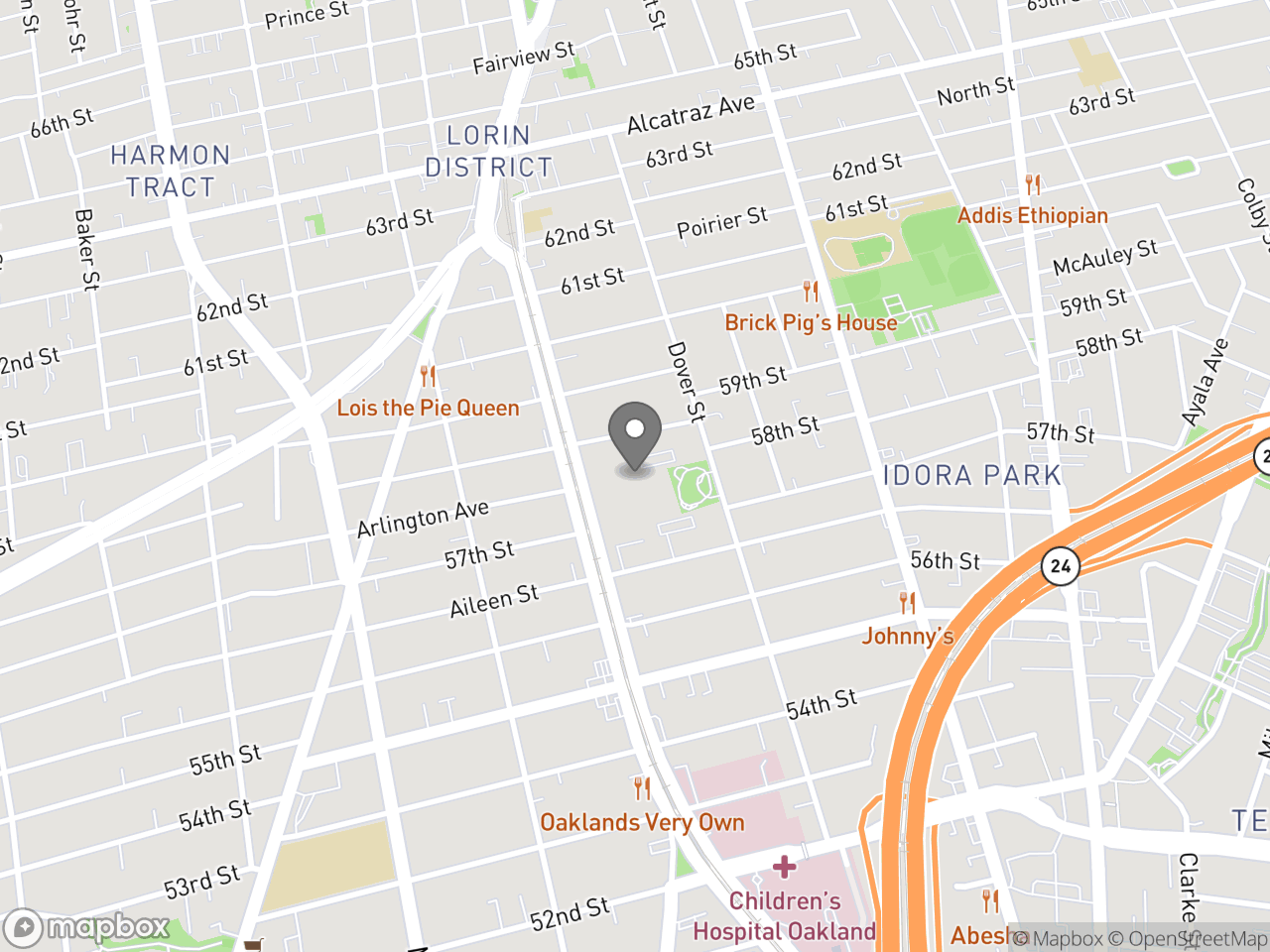 Map image for North Oakland Senior Center, located at 5714 Martin Luther King Jr Way in Oakland, CA 94609