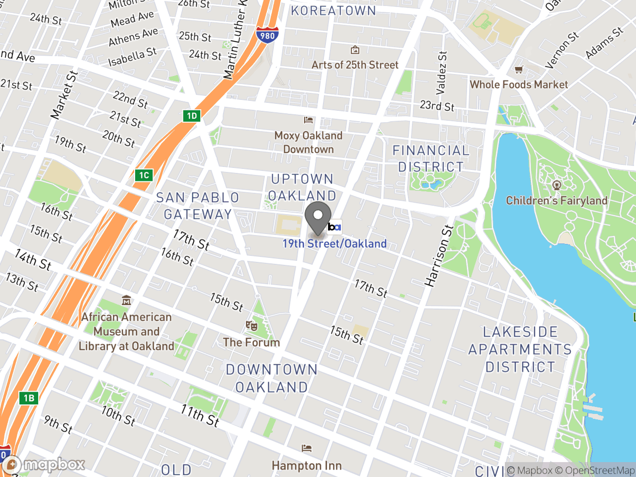 Map location for June 24, 2019 Special Planning Commission Meeting Downtown Oakland Specific Plan Implementation Intensive (Part I of II), located at 1721 Broadway in Oakland, CA 94612