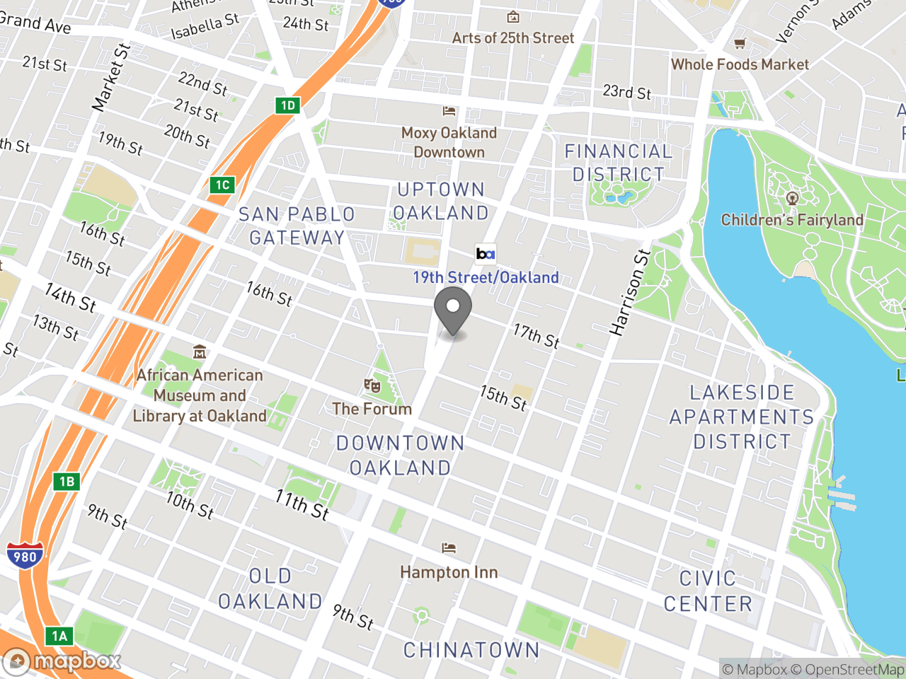 Map location for October 1, 2019 SPUR Public Discussion - Downtown Oakland Specific Plan, located at 1544 Broadway in Oakland, CA 94612