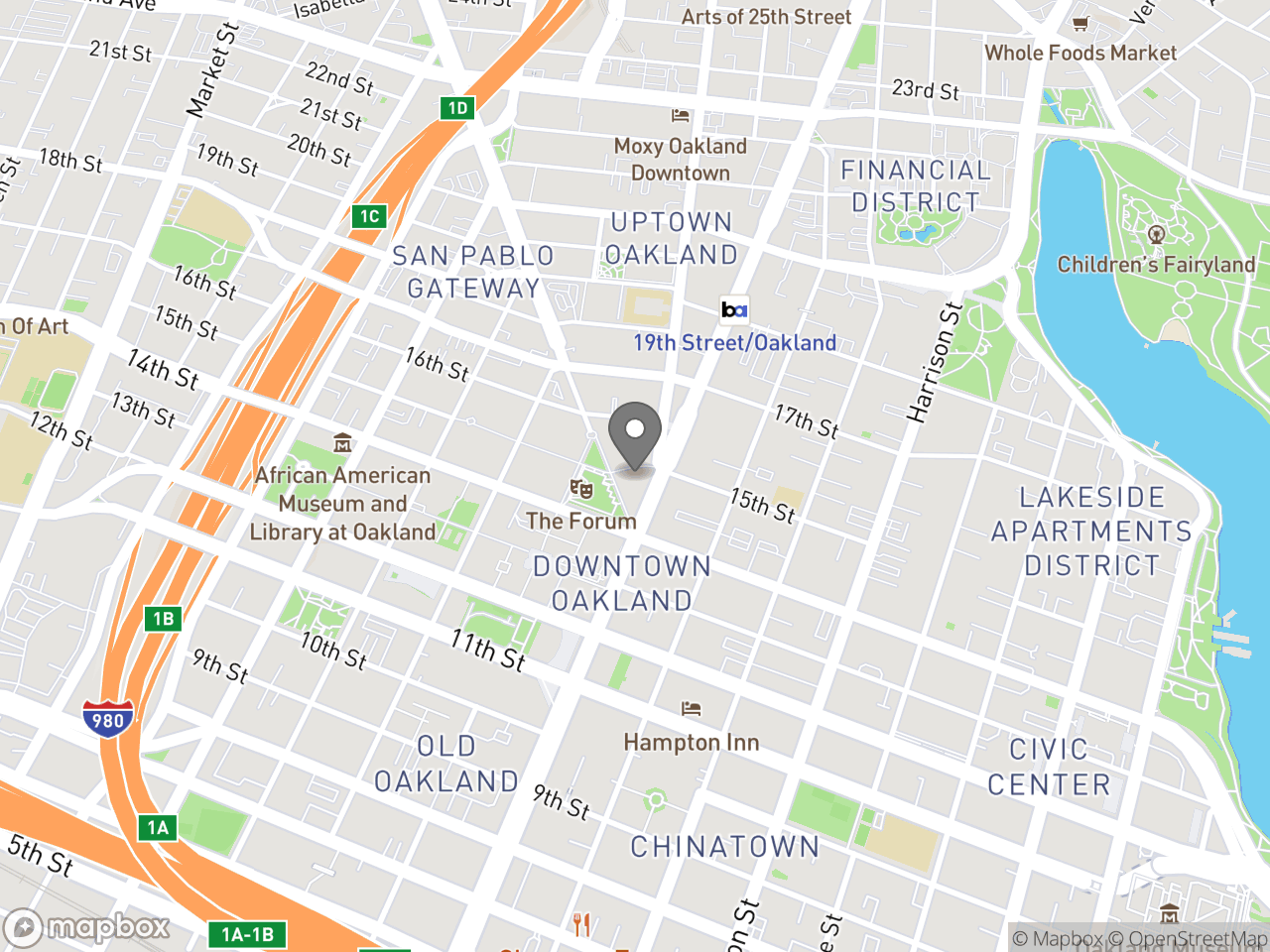 Map location for Finance, located at 150 Frank H Ogawa Plaza in Oakland, CA 94612