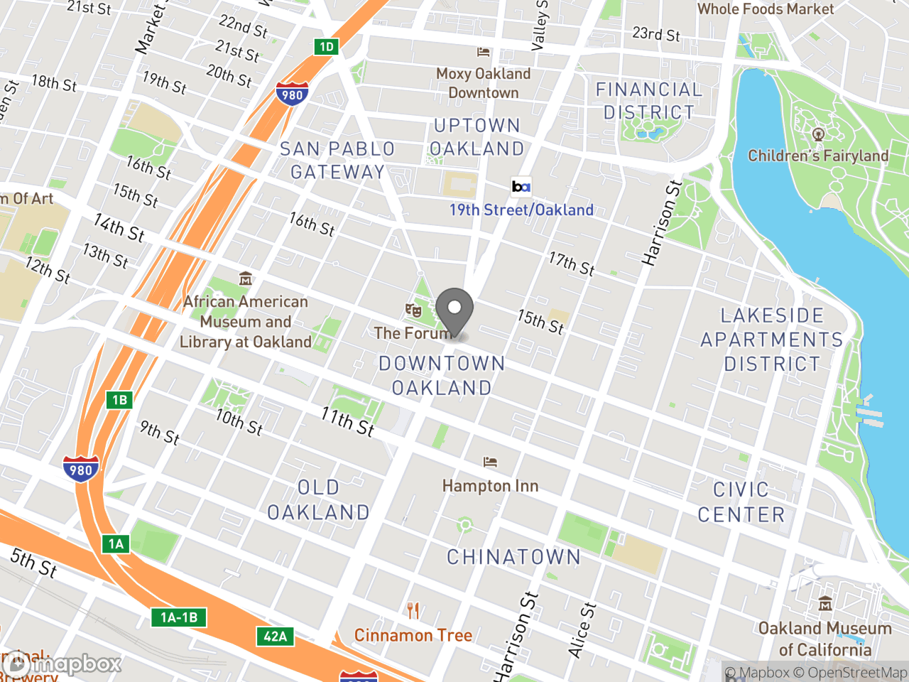 Map location for Oakland Walking Tour, located at  in Oakland, CA