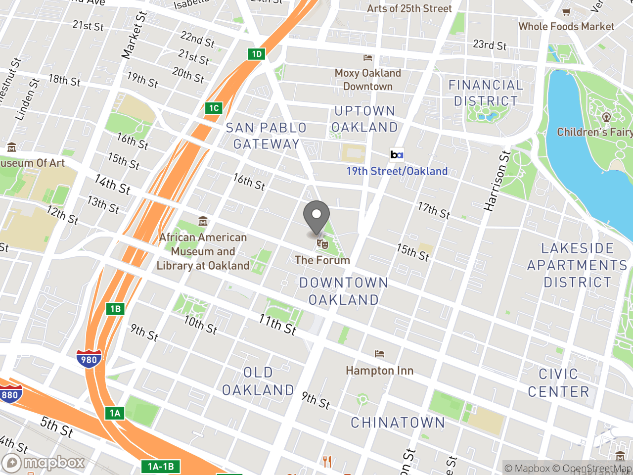 Map location for August 12, 2019 Landmarks Preservation Advisory Board Meeting, located at 1 Frank H Ogawa Plaza in Oakland, CA 94612