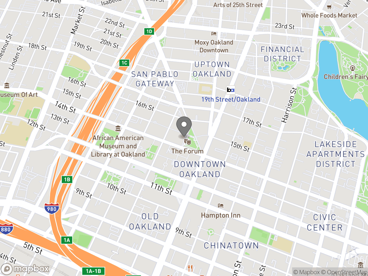 Map location for November 28, 2018 Design Review Committee Meeting, located at 1 Frank H Ogawa Plaza in Oakland, CA 94612