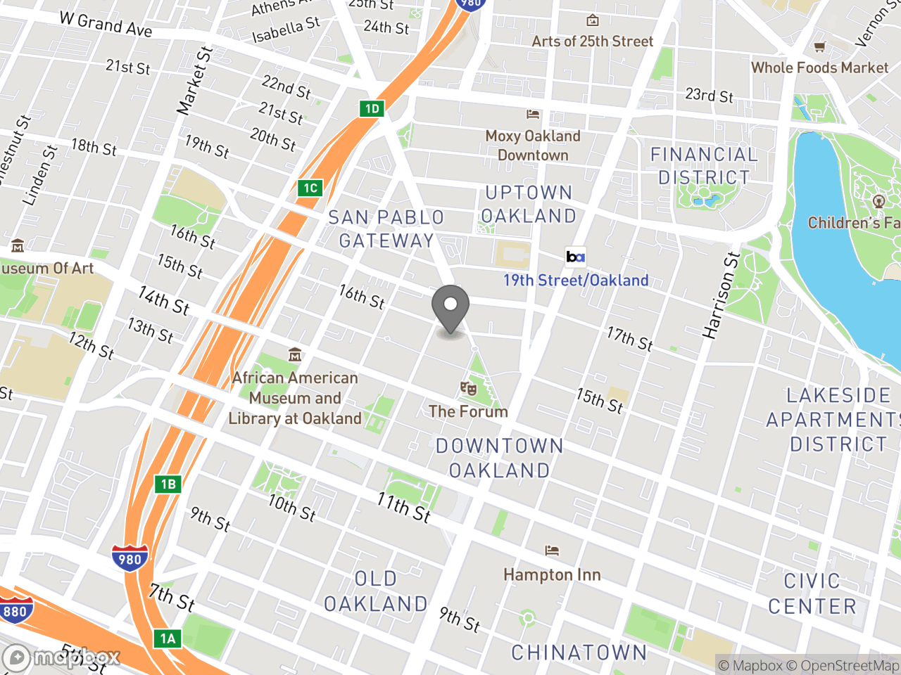 Map location for Parks, Recreation & Youth Development, located at 250 Frank H Ogawa Plaza in Oakland, CA 94612