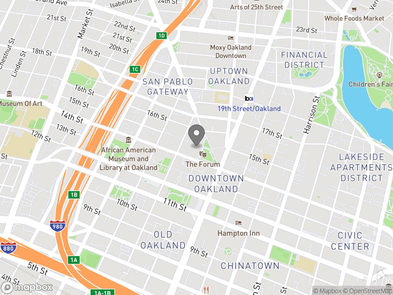 Map location for Bicyclist and Pedestrian Advisory Commission (BPAC) Meeting, April 18, 2019, located at 1 Frank H Ogawa Plaza in Oakland, CA 94612