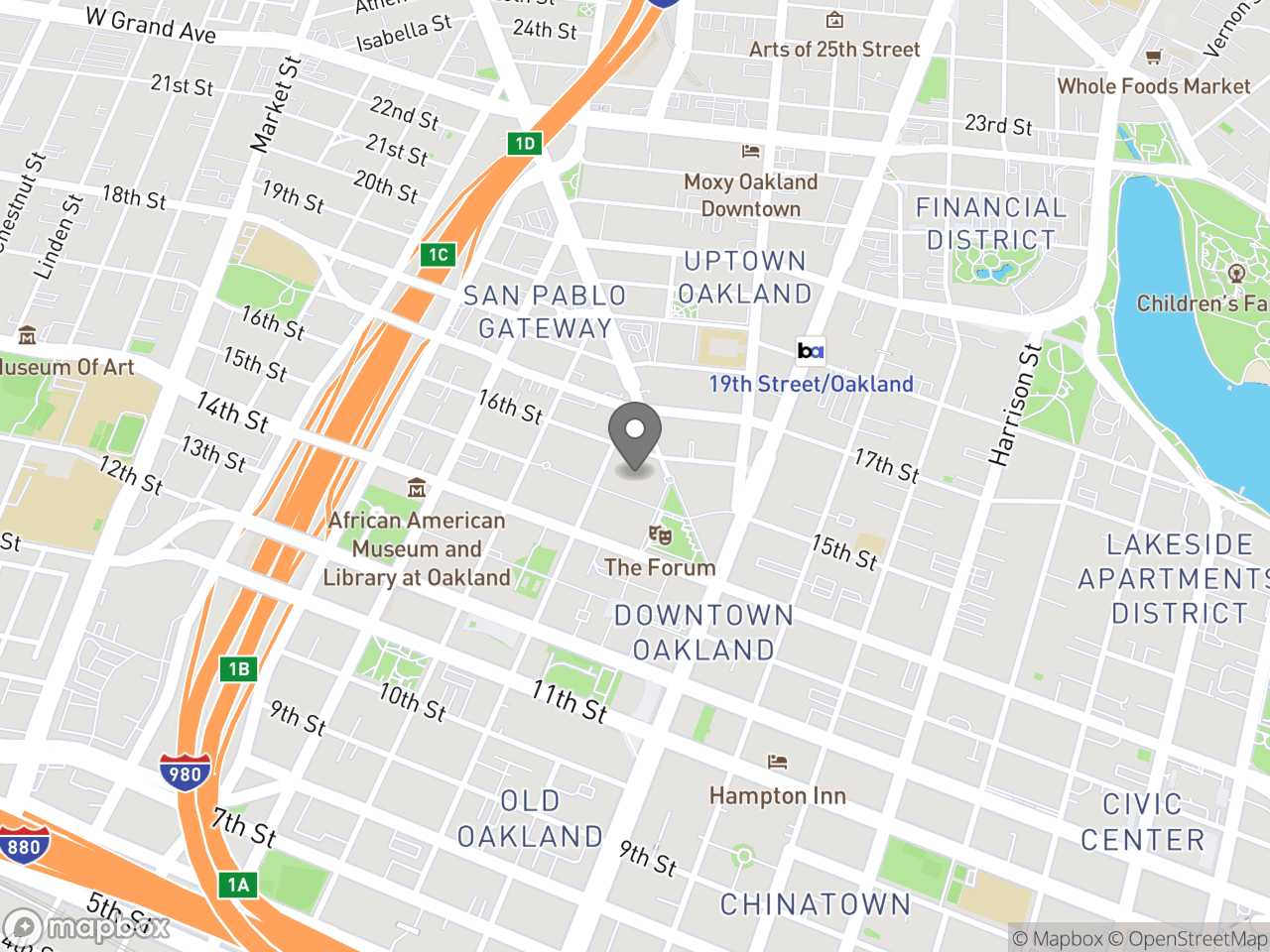 Map image for Finance, located at 250 Frank H. Ogawa Plaza in Oakland, CA 94612