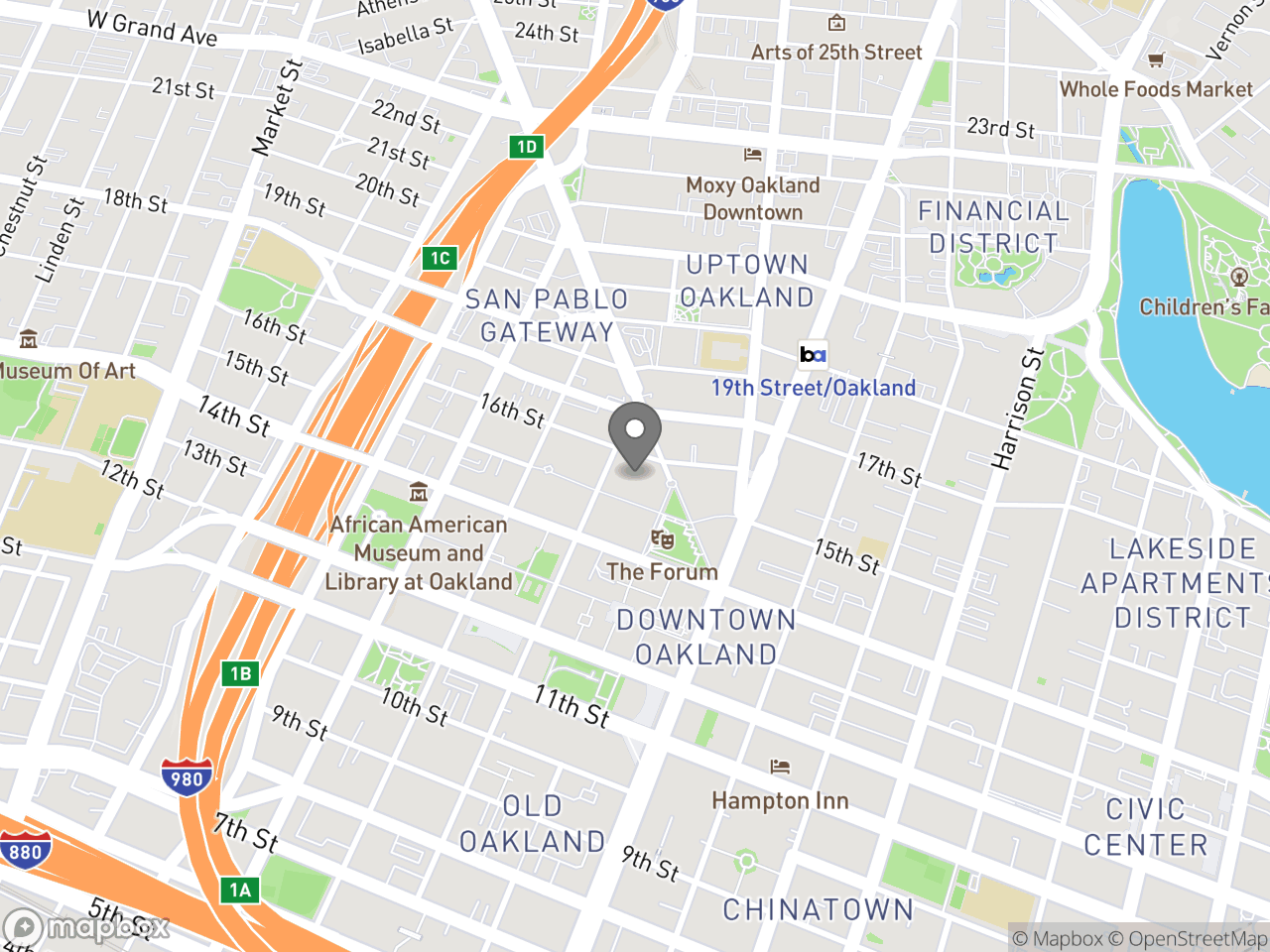 Map location for Environmental Review, located at 250 Frank H. Ogawa Plaza in Oakland, CA 94612