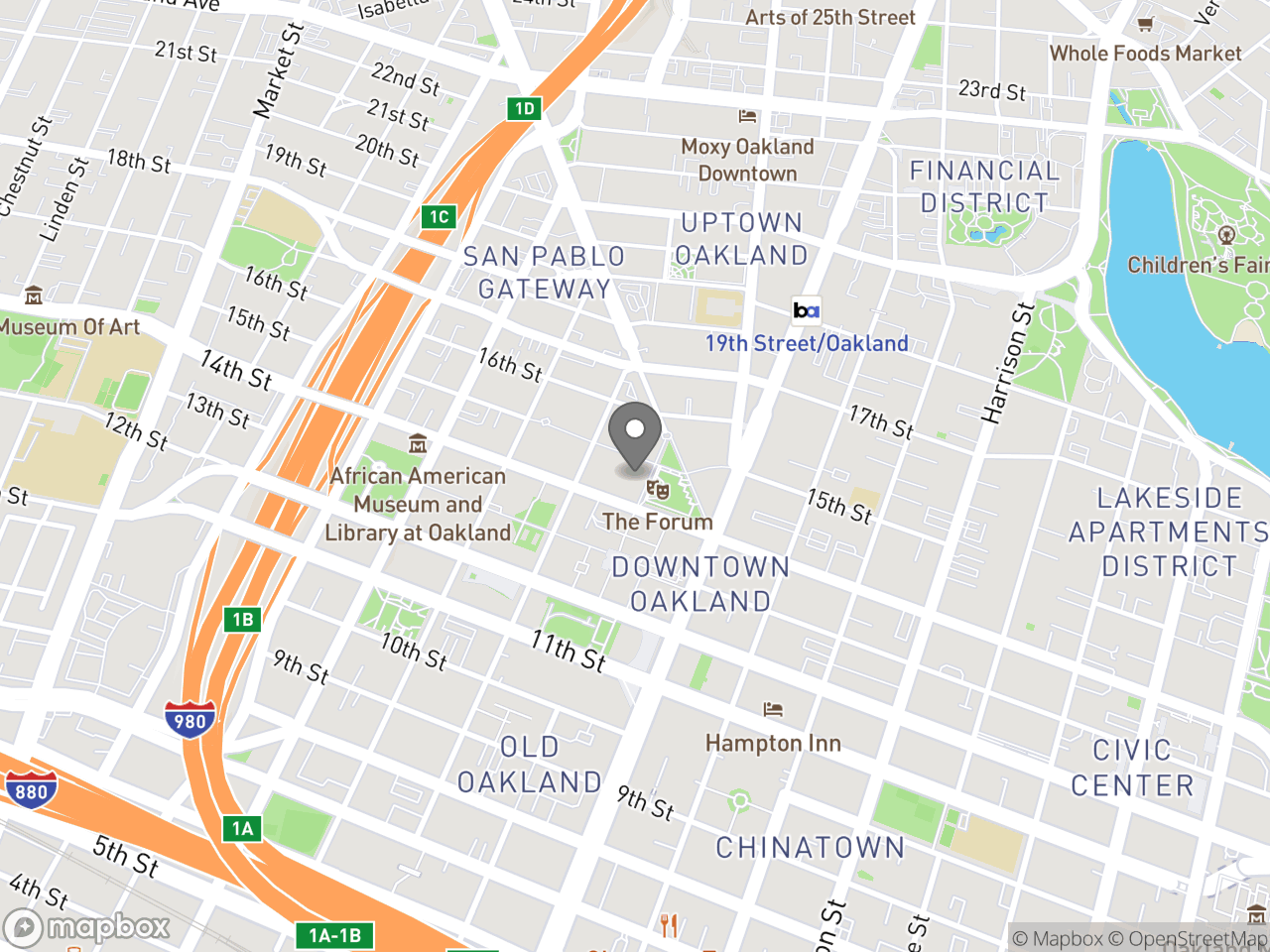 Map location for Sugar-Sweetened Beverage Community Advisory Board Meeting November 5, 2018, located at 1 Frank H Ogawa Plaza in Oakland, CA 94612