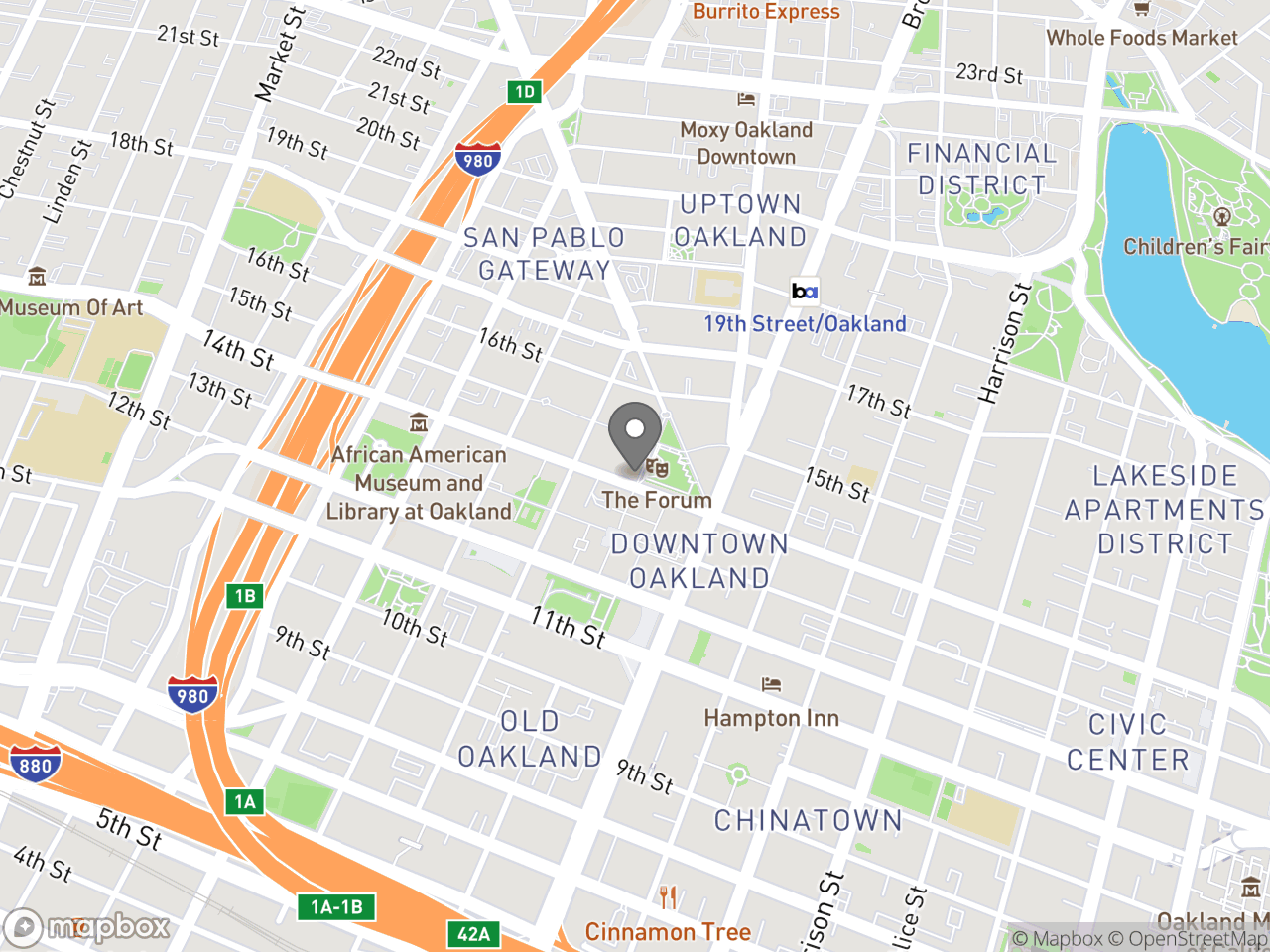 Map location for Mayor's Commission on Persons with Disabilities, February 25, 2019, located at 1 Frank H Ogawa Plaza in Oakland, CA 94612