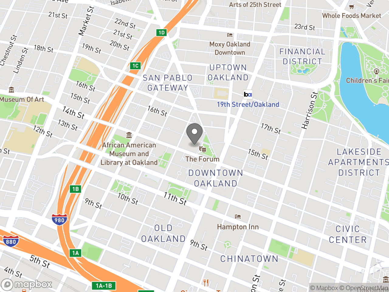 Map location for Downtown Oakland Community Meeting re: Equity Indicators Report, located at 1 Frank H Ogawa Plaza in Oakland, CA 94612