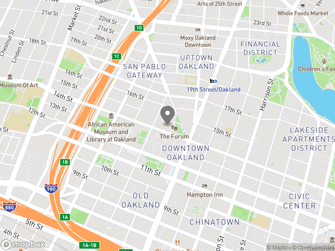 Map location for Bicyclist and Pedestrian Advisory Commission (BPAC) Meeting, located at 1 Frank H. Ogawa Plaza in Oakland, CA 94612