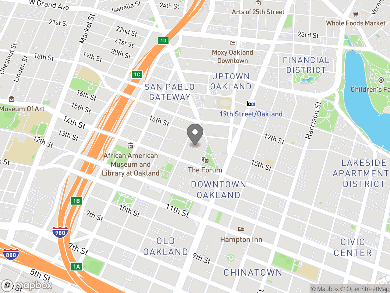 Map location for Mandatory Soft Story Retrofit Program, located at 250 Frank H Ogawa Plaza 2nd Floor in Oakland, CA 94612