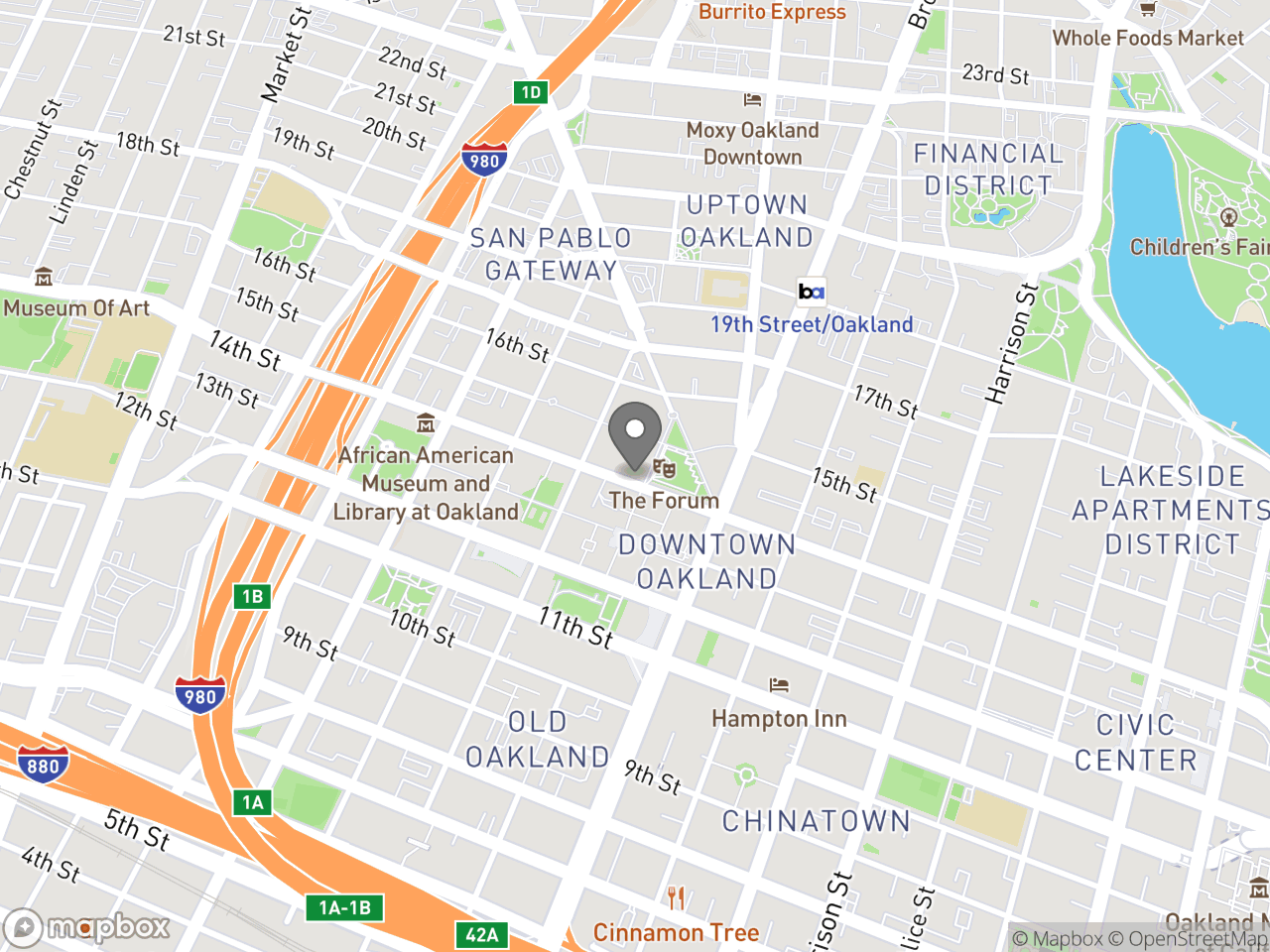 Map location for Mayor's Commission on Persons with Disabilities, May 20, 2019, located at 1 Frank H Ogawa Plaza in Downtown Oakland, CA 94612