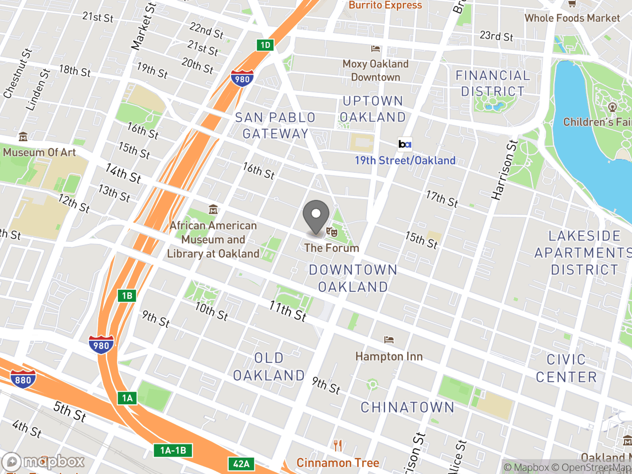 Map location for Mayor's Commission on Persons with Disabilities July 15, 2019, located at 1 Frank H Ogawa Plaza in Downtown Oakland, CA 94612