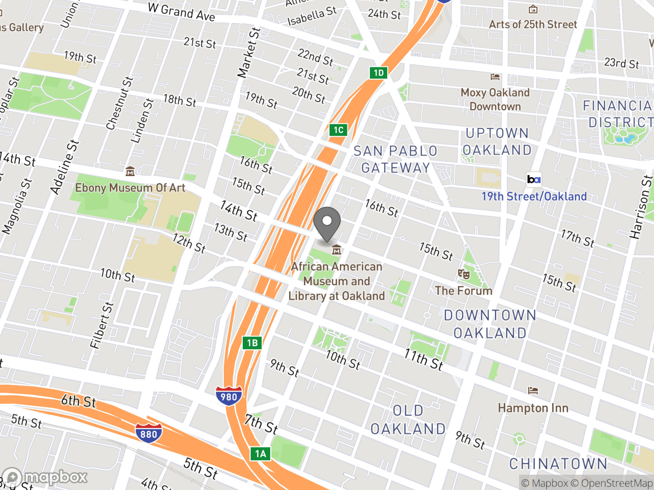 Map location for 12-2-19 PAAC Meeting, located at 1 Frank H. Ogawa Plaza, Hearing Room 4 in Oakland, CA 94612