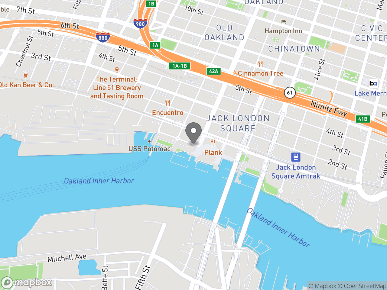 Map location for Police Commission Special Meeting September 14, 2019, located at Waterfront Hotel, Chart Room in Oakland, CA 94607