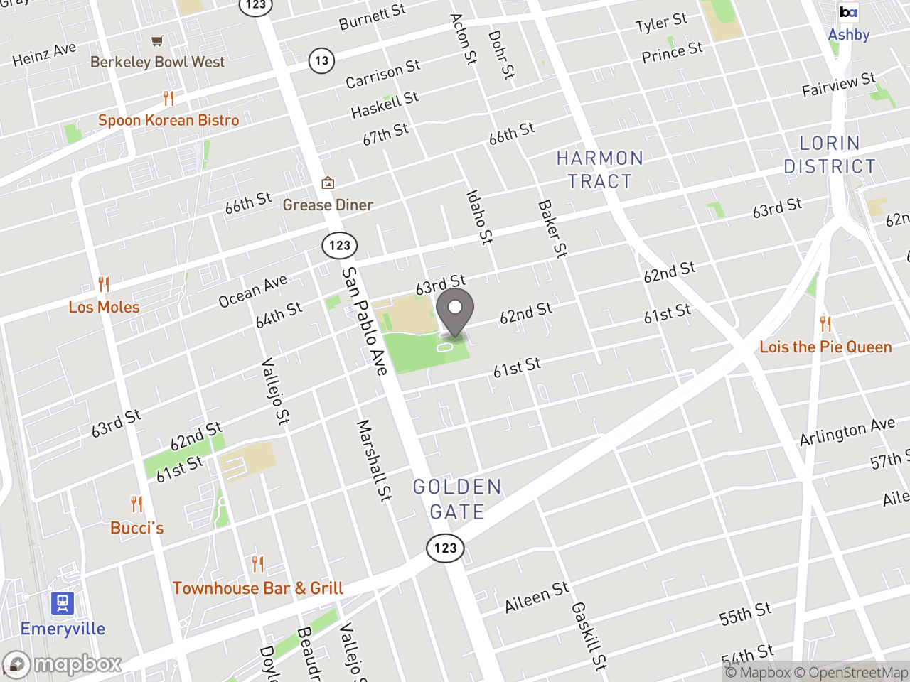 Map location for Introduction to Computers for Seniors, located at 1075 62nd St in Oakland, CA 94608