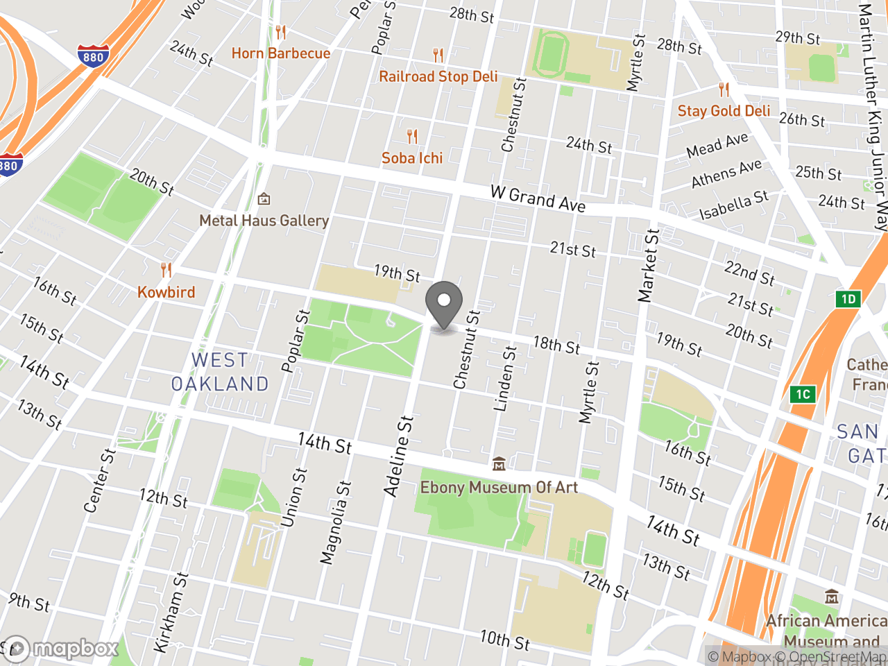 Map location for Sewing Classes at West Oakland Senior Center, located at 1724 Adeline St in Oakland, CA 94607