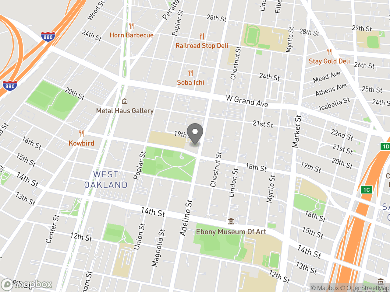 Map location for West Oakland Job Resource Center, located at 1801 Adeline St in Oakland, CA 94607