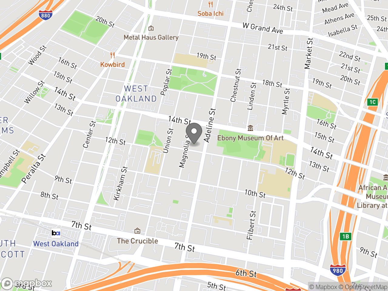 Map location for Police Commission Special Meeting February 16, 2019 Public Hearing on Policing in the Homeless Community, located at 1188 12th Street in Oakland, CA 94607