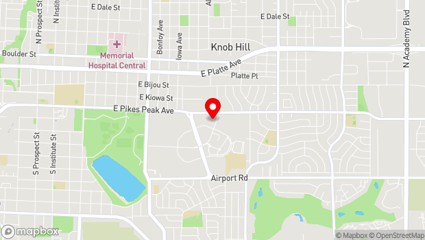 Google Map of 10 S. Parkside Drive, Colorado Springs, CO 80910