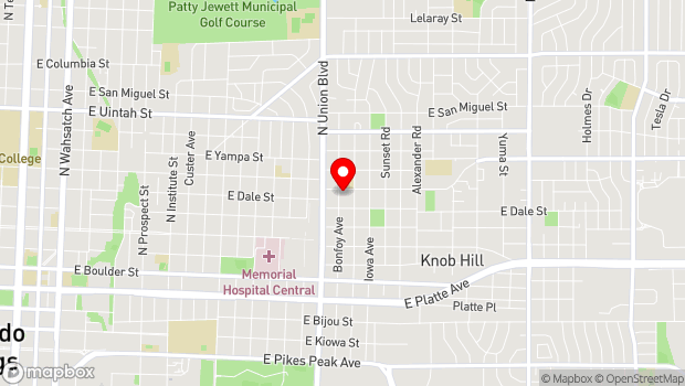 Google Map of 1903 E. Cache La Poudre, Colorado Springs, CO 80909