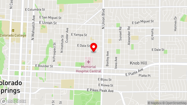 Google Map of 1523 E. Monument St., Colorado Springs, CO 80909