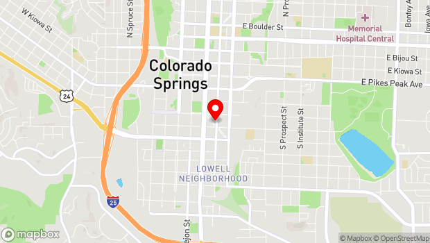 Google Map of 320 S Weber St., Colorado Springs, CO 80903