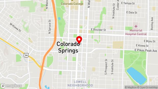 Google Map of 21 N. Nevada, Colorado Springs, CO 80903