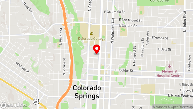 Google Map of 631 N Tejon St., Colorado Springs, CO 80903