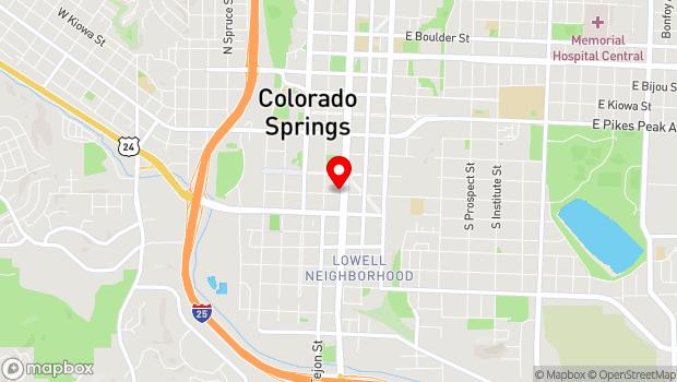 Google Map of 124 E. Costilla St., Colorado Springs, CO 80903
