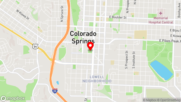 Google Map of 215 S. Tejon Street, Colorado Springs, CO 80903